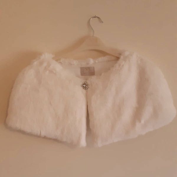 JENNY PACKHAM No.1 white faux fur capelet