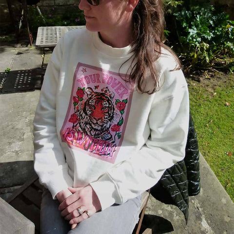 Misty white Tiger sweater