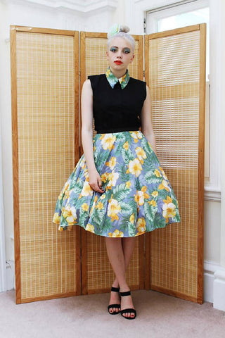 Handmade Hawaiian Floral Print Full Circle Skirt | PRETTY DISTURBIA