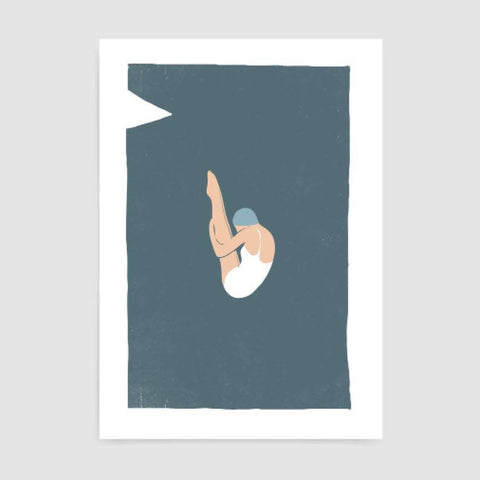 Retro Diving Board Art Print