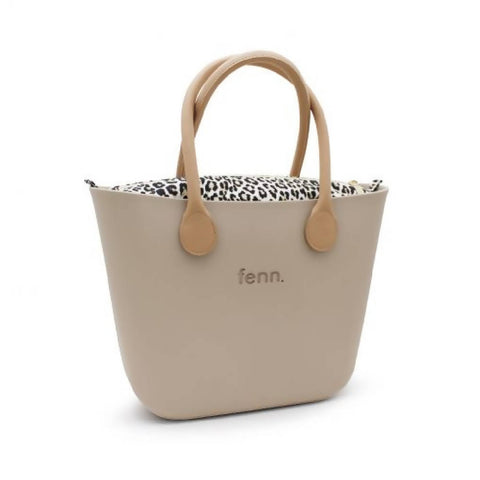 Stone Fenn bag with leopard print canvas inner and tan handles