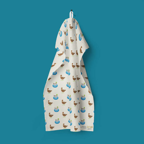 Mallard Ducks tea towel made with 100% organic cotton