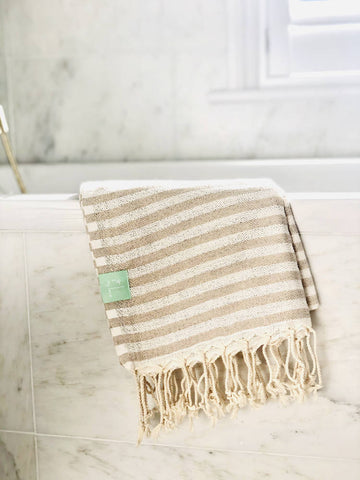 Beige striped Turkish Bath Towel