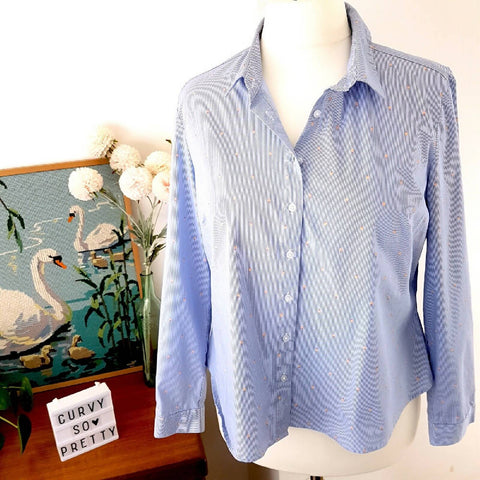 M&S Light Blue Striped Heart Print Shirt 18