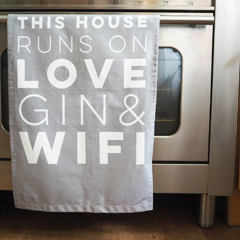 Love Gin & Wifi Decorative Tea Towel
