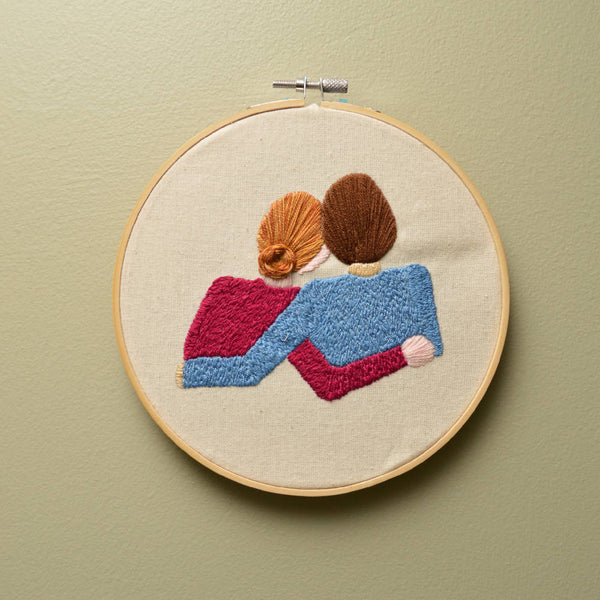 Handmade 'couple embracing' embroidery hoop - Wall Art