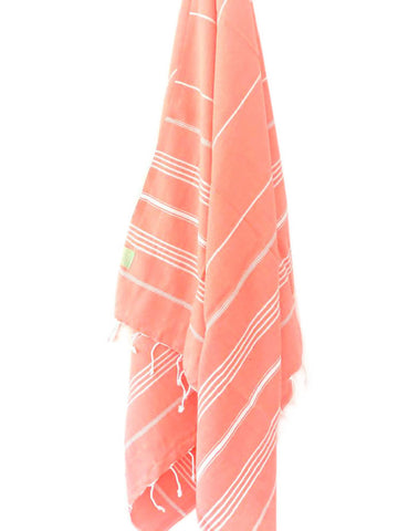 Coral Striped Hammam Towel