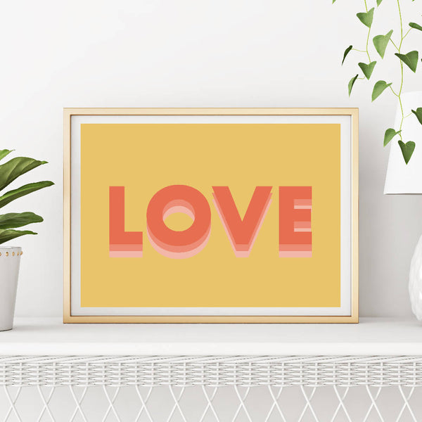 Love (yellow/red) | Home Decor - Wall Art - Typography