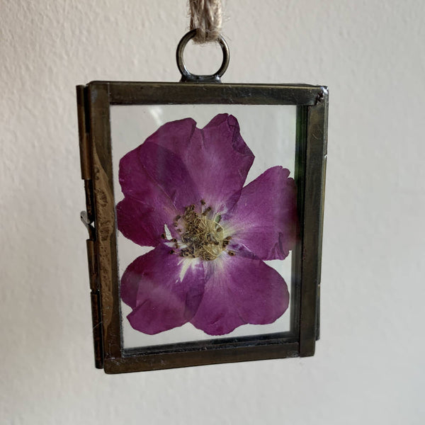 4x5cm Beautiful Brass Frame with Pressed Rose