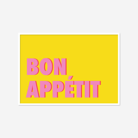 Bon Appétit (yellow/pink) | Home Decor - Wall Art - Typography