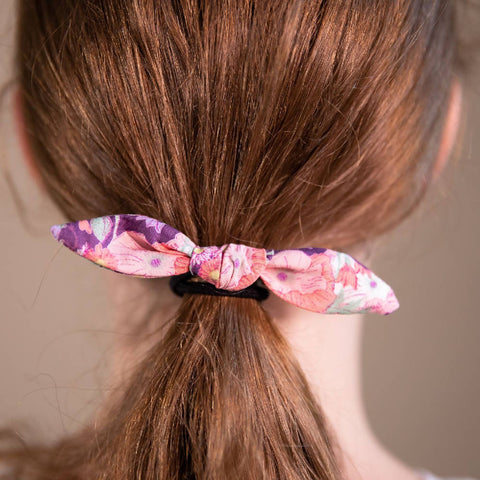 Purple Floral Patterned Hair Bow on Hair Elastic