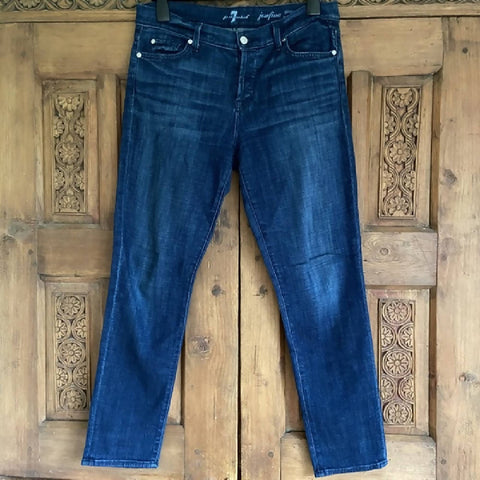 7 For All Mankind dark blue skinny boyfriend jeans, W29