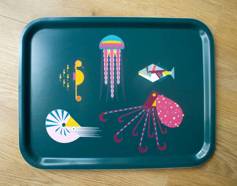 Large Sea Creatures characters eco wooden tray