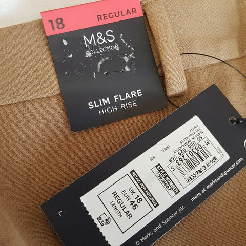 NEW M&S Slim Flare High Rise Trousers 18