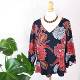 M&S Bold Floral V Neck Blouse 16