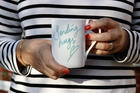Sending big hugs, bone china mug