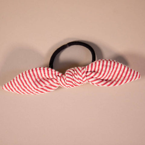 Red and White Candy-Striped Seersucker Hair Bow on Hair Elastic