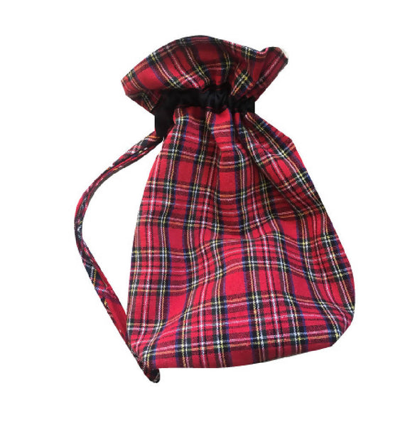 PRETTY DISTURBIA HANDMADE BESPOKE TARTAN RED CHRISTMAS TIE BAG