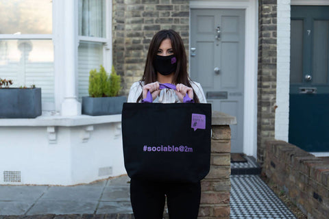 Fabulous topical Tote Bag with matching Face Mask and Hand Sanitiser