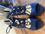 Monsoon BNWT navy suede heeled sandals, size 6