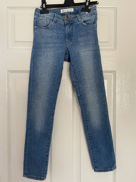 Zara girls light blue jeans, age 9