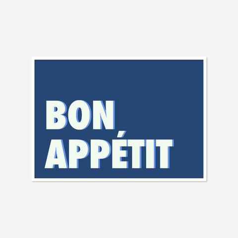 Bon Appétit (blue/cornflower) | Home Decor - Wall Art - Typography