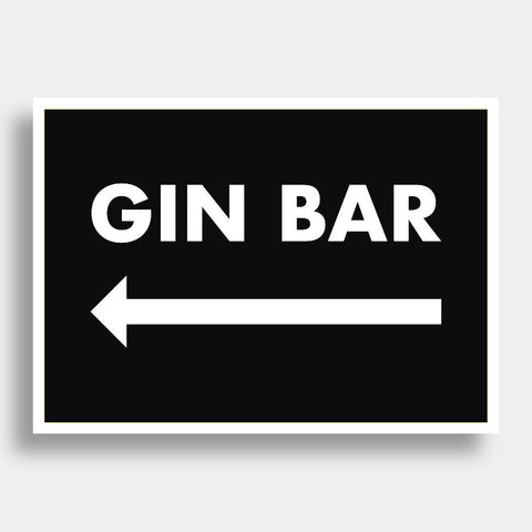 Gin Bar (Left Arrow) | Home Decor - Wall Art - Typography