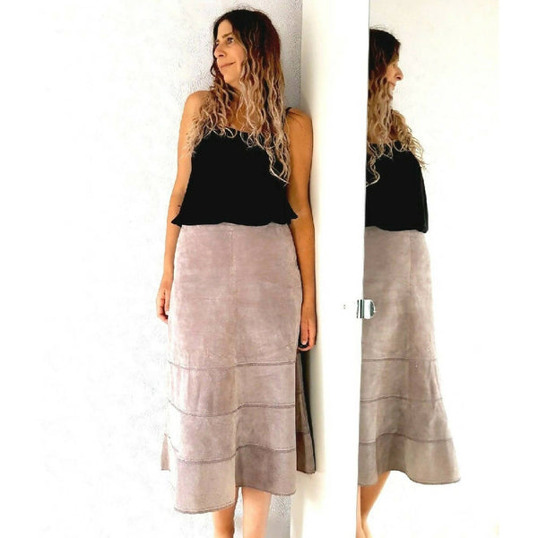 Laura Ashley 100% Leather Suede Skirt 12