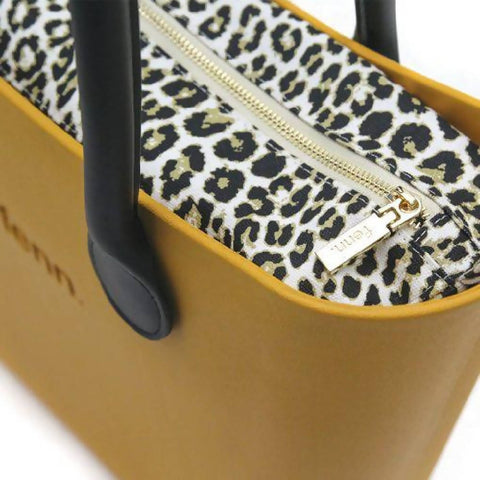 Mustard Yellow Fenn bag with leopard print canvas inner and black handles