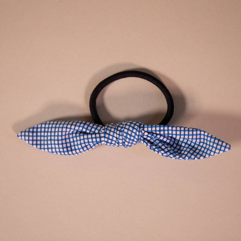 Blue and Black Grid Patterned Hair Bow on Hair Elastic