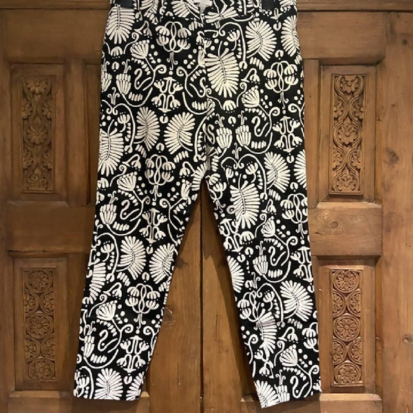 H&M black & white floral cigarette pants, 14