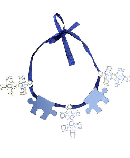 HANDMADE BLUE JIGSAW PUZZLE PATTERN RIBBON NECKLACE | PRETTY DISTURBIA