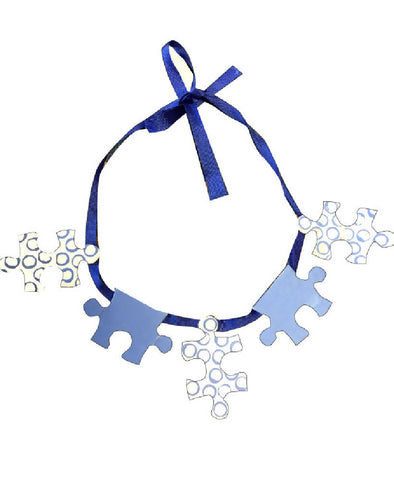 MOTHERS DAY GIFT Handmade Blue Jigsaw Puzzle Pattern Ribbon Necklace | PRETTY DISTURBIA