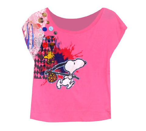 Pink 'SNOOPY' Print Crop Top | PRETTY DISTURBIA
