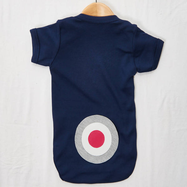 Grey and Pink Target on a Navy Baby grow, size 0-3 months