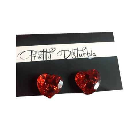 MOTHERS DAY GIFT Handmade Red Heart Shiny Earrings | PRETTY DISTURBIA
