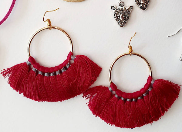 Large Claret Tassel Hoops