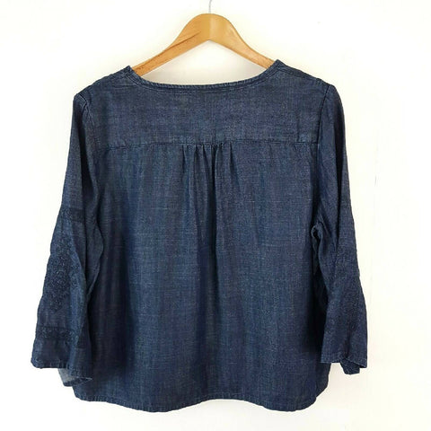 Blue 73 Embroidered Chambray Denim Top 16