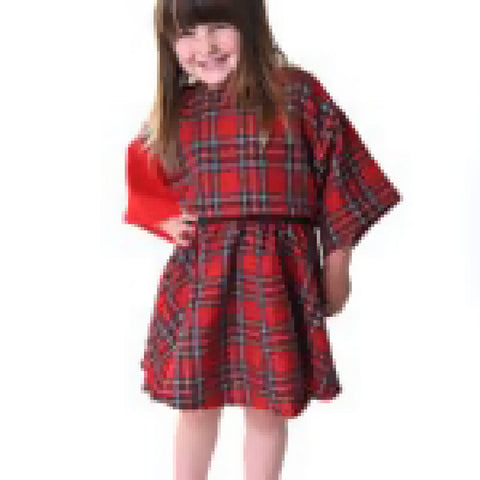 CHILDREN'S HANDMADE GIRLS RED CHECKED TARTAN BOXY CROP TOP PUNK GRUNGE GOTH