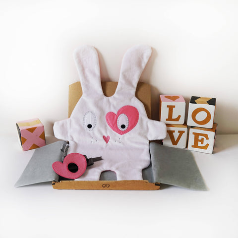 Baby Comforter | White & Pink Heart |The Dou-Doods