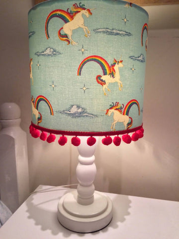 Unicorns & Rainbows PomPom Small Handmade Light Shade
