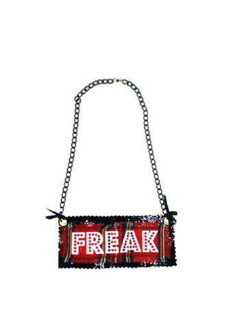 MOTHERS DAY GIFT Handmade 'FREAK' Red Tartan PVC Necklace | PRETTY DISTURBIA