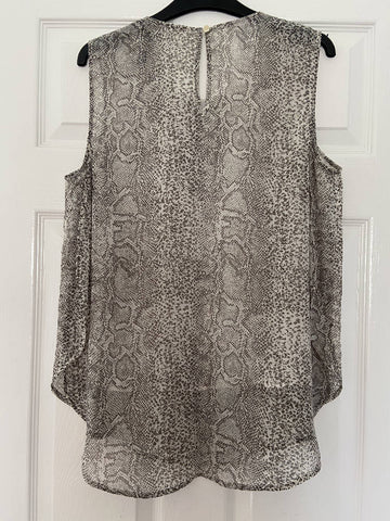 Oasis beige/cream snakeskin sleeveless blouse, size 14
