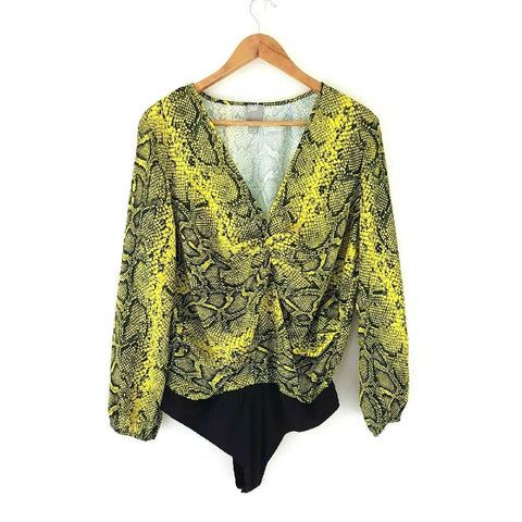 Asos Snakeskin Lime Yellow Bodysuit 16