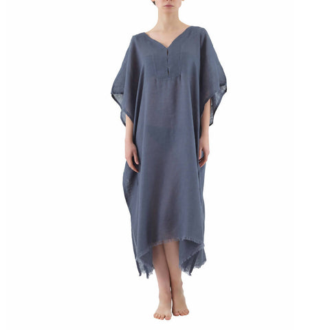 Grey Long Linen Kaftan