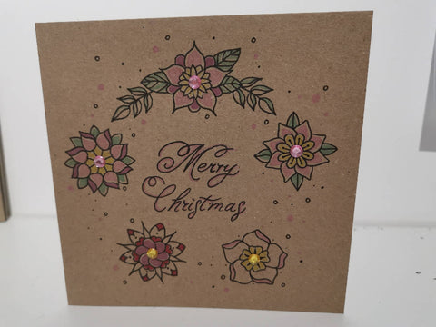 Pink Floral Christmas Wreath Greetings Card