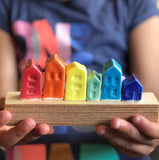 Set of 6 Colourful Porcelain Houses