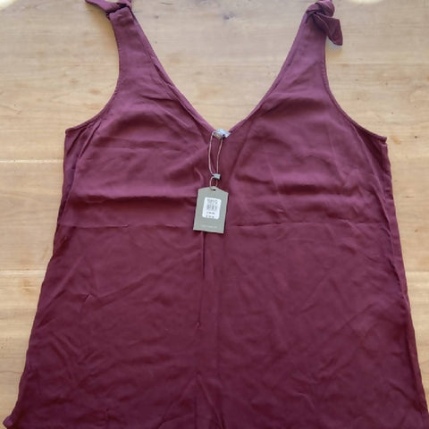 Oasis burgundy vest with tie shoulders, BNWT, size 14
