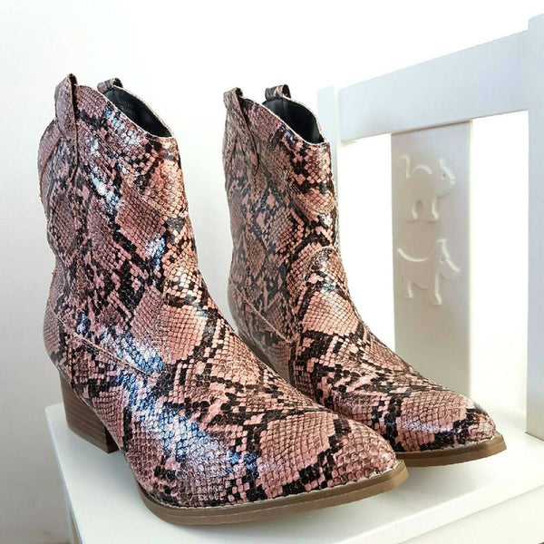 Spot On Faux Snakeskin Pink Cowboy Boots 8 UK 41