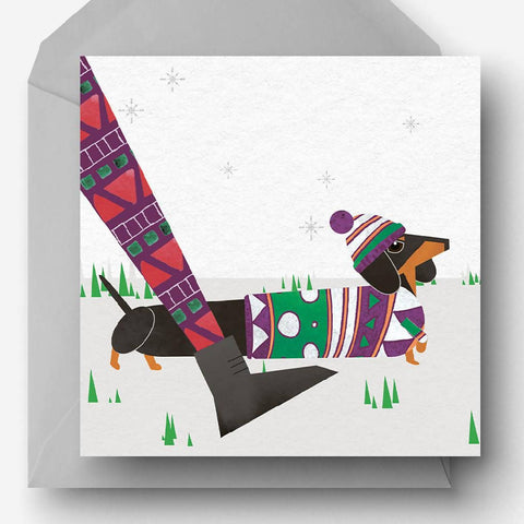 Pack of 5 Christmas Sausage Dog Charity Cards